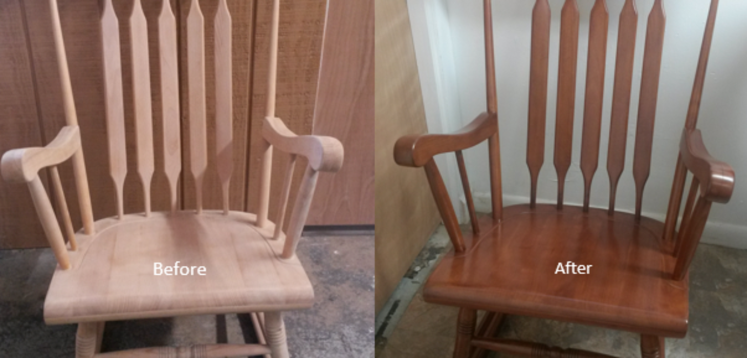 Rocking chair before & rocking chair after.